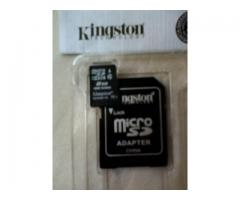 Memoria Micro SD de 8gb marca Kingston + Adaptador