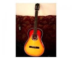 guitarra con acabado colombiano en su forro como nueva