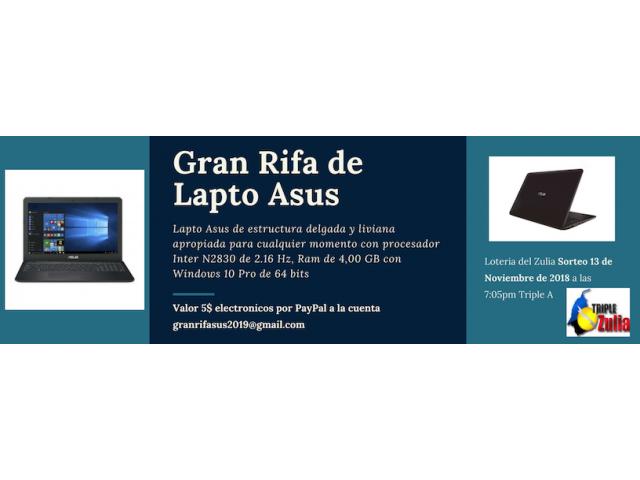 RIFA DE LAPTO  OPORTUNIDAD 5$ POR PAYPAL A LA CUENTA GRANRIFASUS2019@GMAIL.COM - 1/1