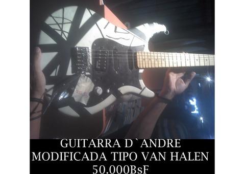 """*GUITARRA D`ANDRE, MODIFICADA TIPO """"VAN HALEN"""" EN 50.000BsF"""