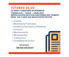 Clases y trabajos en matemáticas financieras, economía y estadísticas
