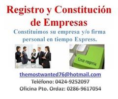 REGISTRO Y CONSTITUCIÓN DE EMPRESAS EN PUERTO ORDAZ