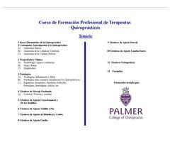 Curso Profesional de Formación de Quiropracticos