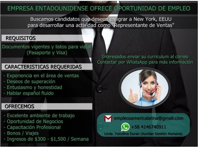 Oportunidad de Empleo en New York, EEUU - 1/1