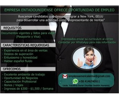 Oportunidad de Empleo en New York, EEUU