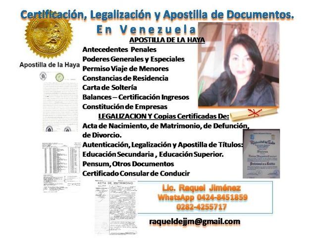 Legalización, Certificación y Apostilla de Documentos en Vzla ...