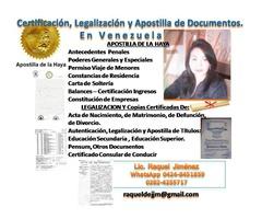 Legalización, Certificación y Apostilla de Documentos en Vzla.