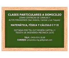 CURSOS Y CLASES A DOMICILIO DE MATEMÁTICA, CÁLCULO Y FÍSICA