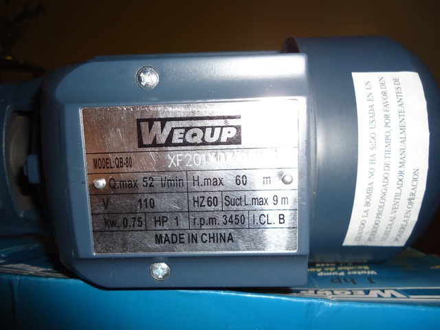 Bomba de Agua 1HP Marca: WEQUP - 4/5