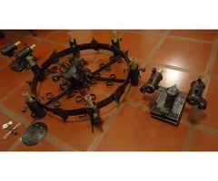 Lampara española de hierro martillado de 6 Brazos y 2 apliques pared
