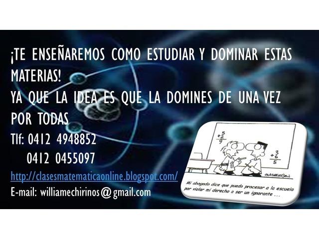 CLASES PARTICULARES A DOMICILIO DE: MATEMATICA; FISICA Y QUIMICA - 1/6