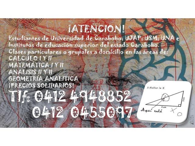 CLASES PARTICULARES A DOMICILIO DE: MATEMATICA; FISICA Y QUIMICA - 3/6
