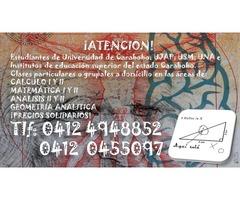 CLASES PARTICULARES A DOMICILIO DE: MATEMATICA; FISICA Y QUIMICA