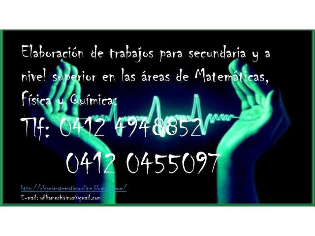 ELABORACION DE TRABAJOS Y TAREAS EN LAS AREAS DE MATEMATICA,FISICA Y QUIMICA - 5/6
