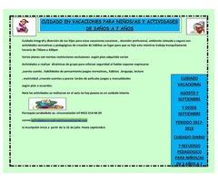 CUIDADO EN VACACIONES PARA NIÑOS/AS Y ACTIVIDADES DE 3AÑOS A 7 AÑOS