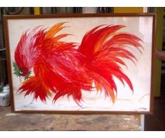 cuadro  el gallo pedro leon zapata original