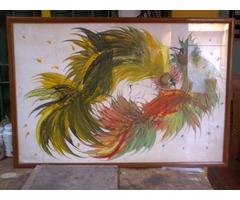 cuadro  peleas de gallo  autor  pedro leon zapata