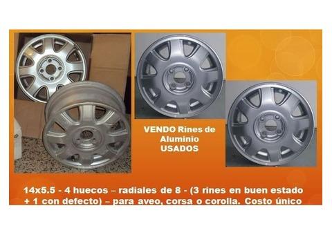 RINES DE ALUMINIO usados 14X5.5 - 4 huecos – radiales de 8