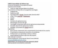 desarrollador software java ofertas de trabajo en