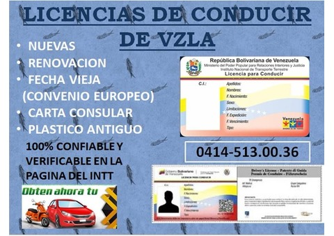 LICENCIAS DE CONDUCIR DEL INTT VZLA